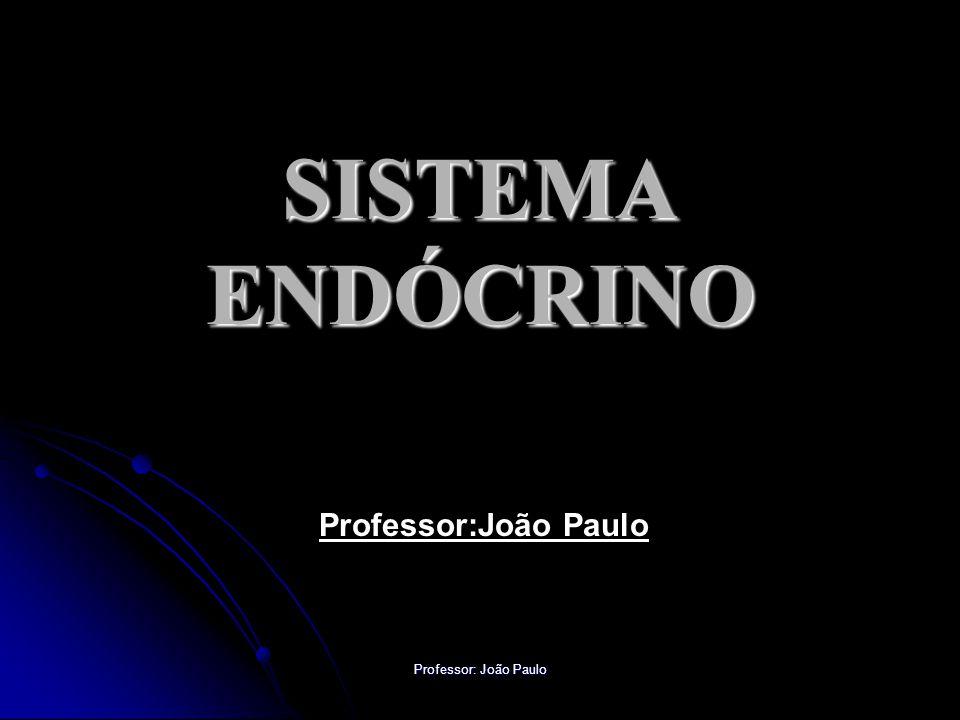 Professor: João Paulo DISFUNÇÕES HORMONAIS Pâncreas (insulina) HIPOFUNÇÃOSINTOMAS Diabetes mellitus Hiperglicemia (alta taxa de glicose no sangue), poliúria (aumenta do volume de água na urina), glicosúria (perda de glicose pela urina), aumento da sede (polidipsia), metabolismo alterado de lipídios, carboidratos e proteínas, risco aumentado de complicações por doença vascular, dificuldade de cicatrização.