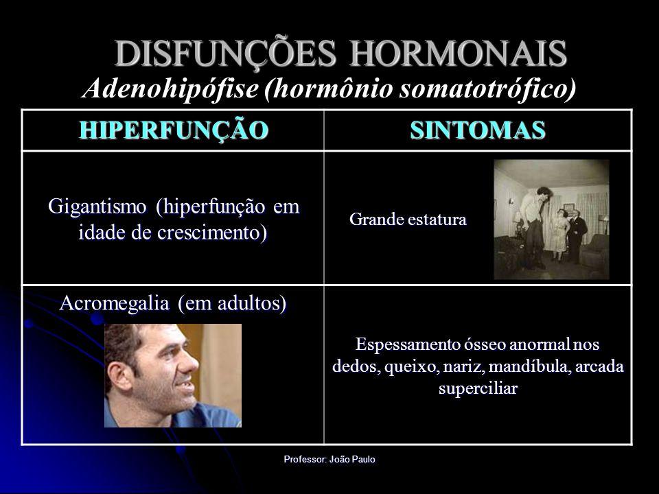 Professor: João Paulo DISFUNÇÕES HORMONAIS Adenohipófise (hormônio somatotrófico) HIPERFUNÇÃOSINTOMAS Gigantismo (hiperfunção em idade de crescimento)