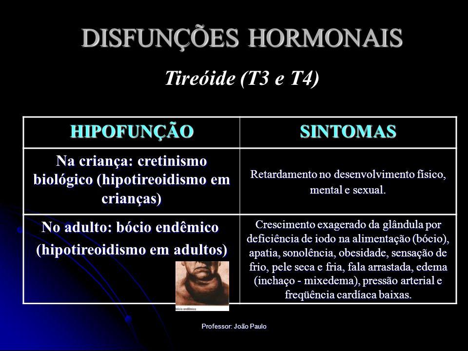 Professor: João Paulo DISFUNÇÕES HORMONAIS Tireóide (T3 e T4) HIPOFUNÇÃOSINTOMAS Na criança: cretinismo biológico (hipotireoidismo em crianças) Retardamento no desenvolvimento físico, mental e sexual.