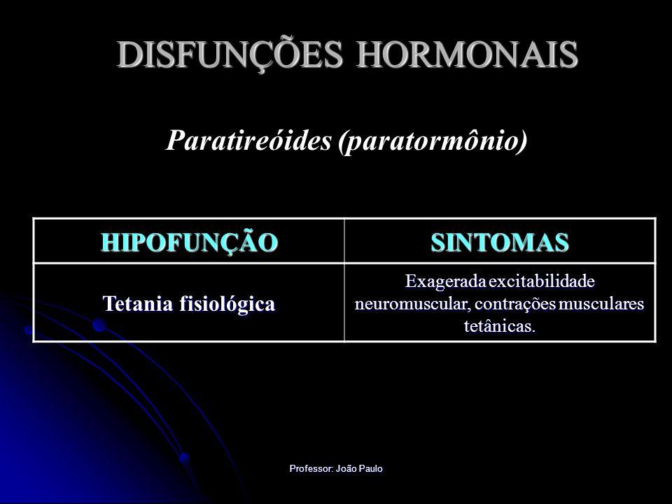 Professor: João Paulo DISFUNÇÕES HORMONAIS Paratireóides (paratormônio) HIPOFUNÇÃOSINTOMAS Tetania fisiológica Exagerada excitabilidade neuromuscular,