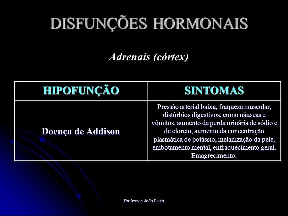 Professor: João Paulo DISFUNÇÕES HORMONAIS Adrenais (córtex) HIPOFUNÇÃOSINTOMAS Doença de Addison Pressão arterial baixa, fraqueza muscular, distúrbio