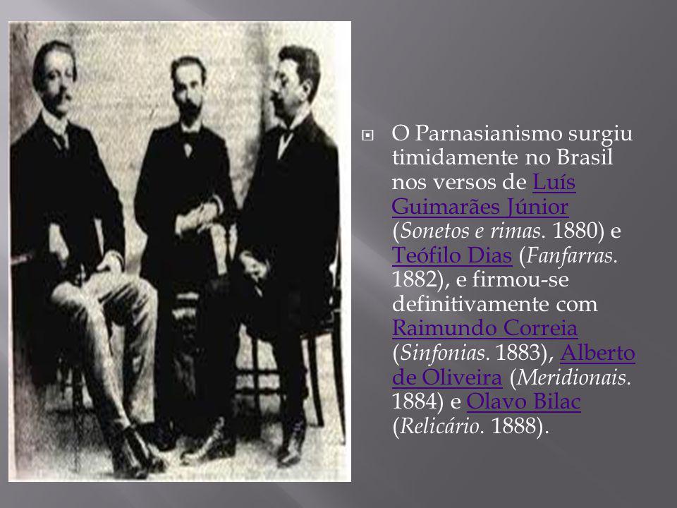 O Parnasianismo surgiu timidamente no Brasil nos versos de Luís Guimarães Júnior ( Sonetos e rimas. 1880) e Teófilo Dias ( Fanfarras. 1882), e firmou-