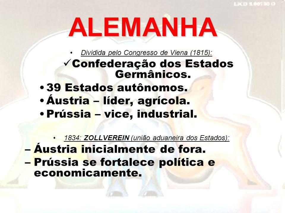 ALEMANHA Dividida pelo Congresso de Viena (1815): Confederação dos Estados Germânicos. 39 Estados autônomos. Áustria – líder, agrícola. Prússia – vice