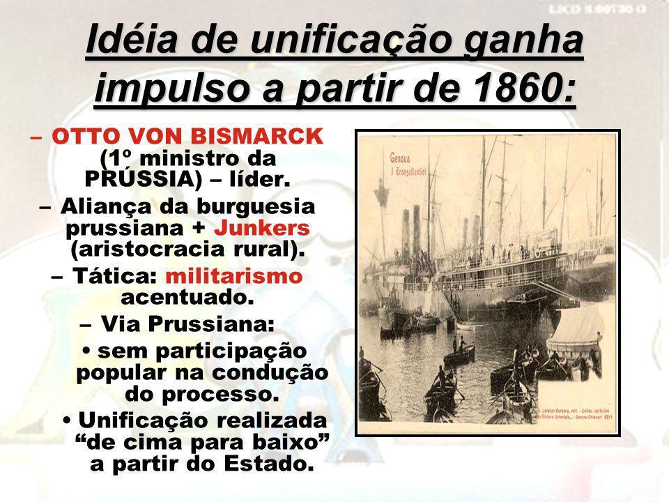 Idéia de unificação ganha impulso a partir de 1860: –OTTO VON BISMARCK (1º ministro da PRÚSSIA) – líder. –Aliança da burguesia prussiana + Junkers (ar