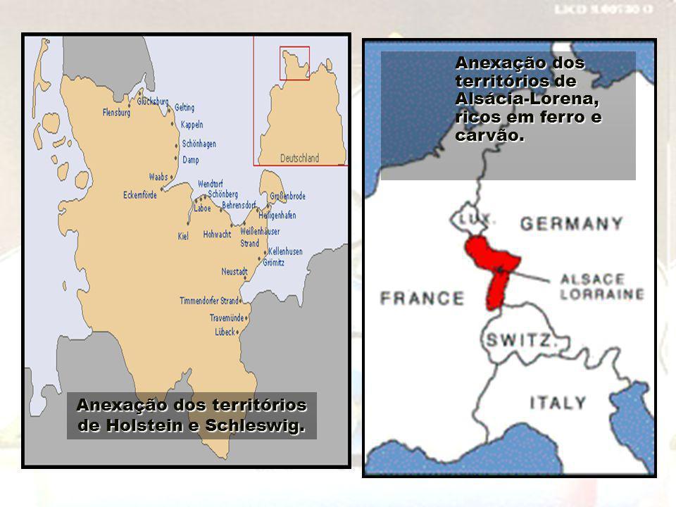 Anexação dos territórios de Holstein e Schleswig. Anexação dos territórios de Alsácia-Lorena, ricos em ferro e carvão.