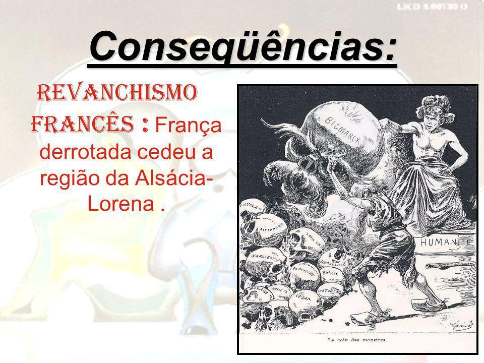 Conseqüências: Revanchismo francês : França derrotada cedeu a região da Alsácia- Lorena.