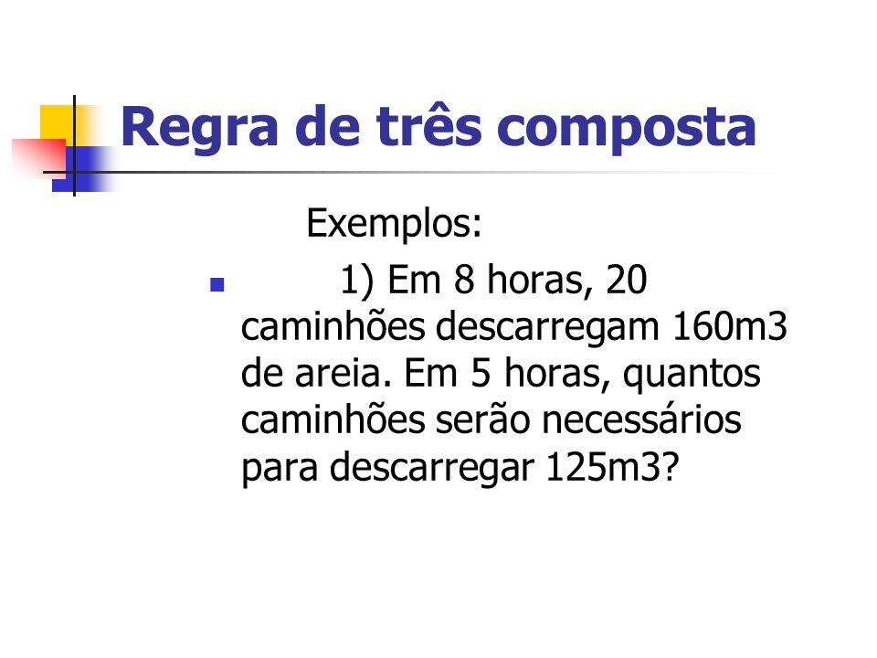 Regra de três composta Exemplos: 1) Em 8 horas, 20 caminhões descarregam 160m3 de areia. Em 5 horas, quantos caminhões serão necessários para descarre