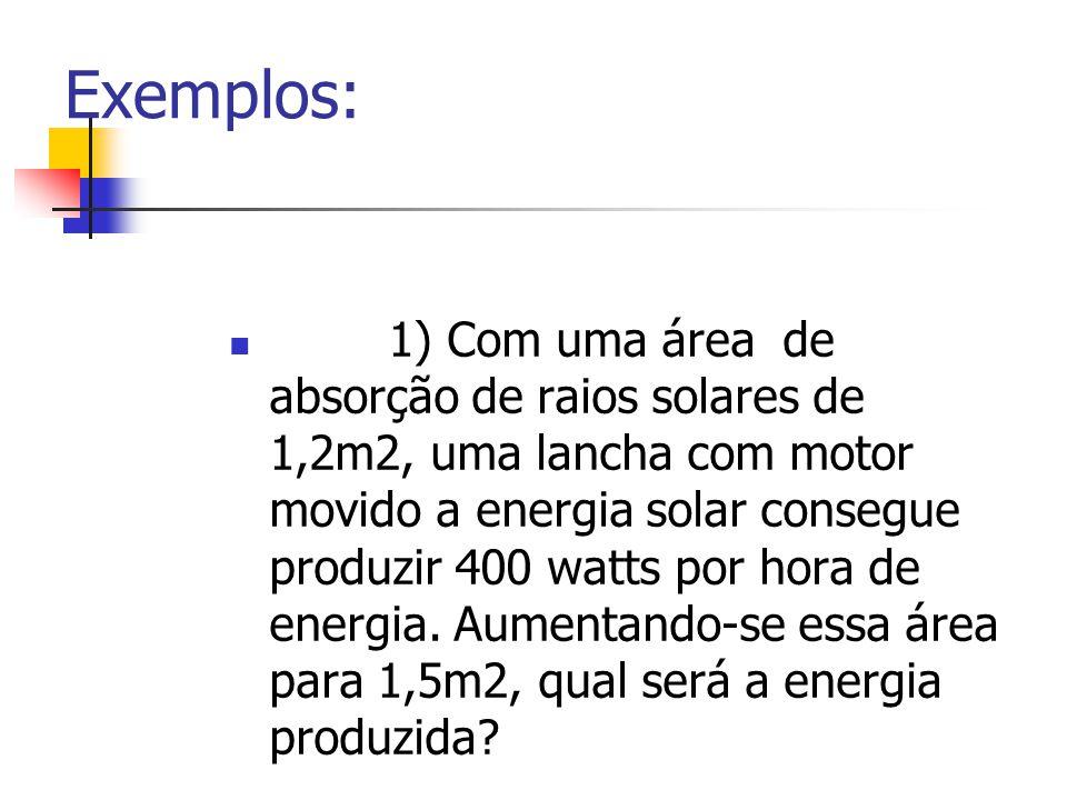 Exemplos: 1) Com uma área de absorção de raios solares de 1,2m2, uma lancha com motor movido a energia solar consegue produzir 400 watts por hora de e