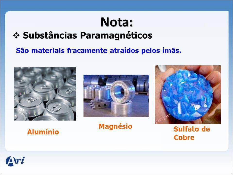 Nota: Substâncias Paramagnéticos São materiais fracamente atraídos pelos ímãs. Alumínio Magnésio Sulfato de Cobre