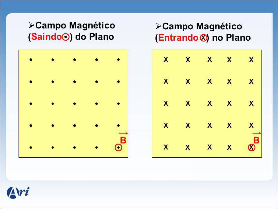 B Campo Magnético (Saindo ) do Plano Campo Magnético (Entrando ) no Plano X X X XX X X X XX X X X XX X X X XX X X X XX B X