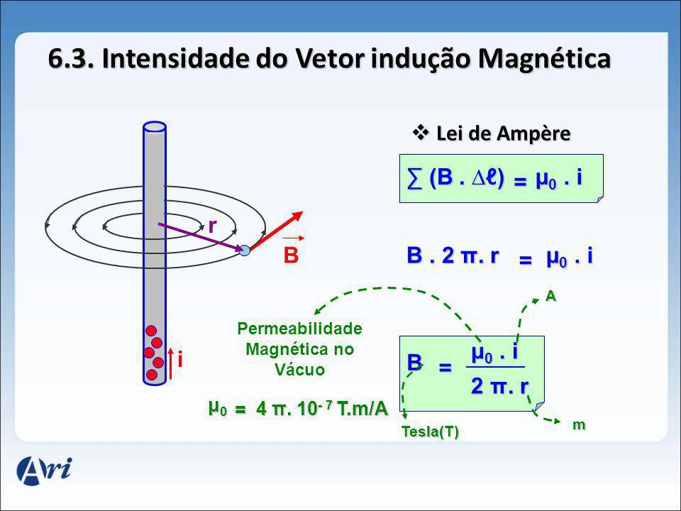 6.3. Intensidade do Vetor indução Magnética B i L Lei de Ampère (B. ) = μ0. i B. 2 π. r = μ0. i B = μ0. i 2 π. r r Permeabilidade Magnética no Vácuo μ