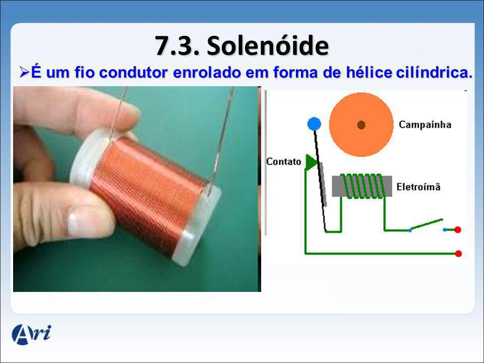 7.3. Solenóide É É um fio condutor enrolado em forma de hélice cilíndrica.