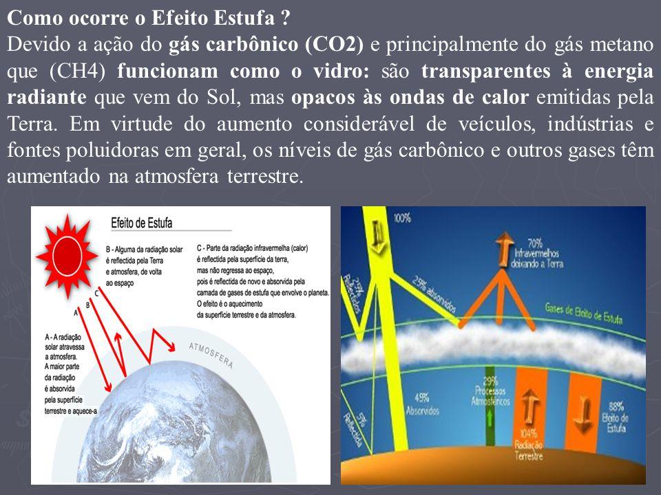 Como ocorre o Efeito Estufa ? Devido a ação do gás carbônico (CO2) e principalmente do gás metano que (CH4) funcionam como o vidro: são transparentes