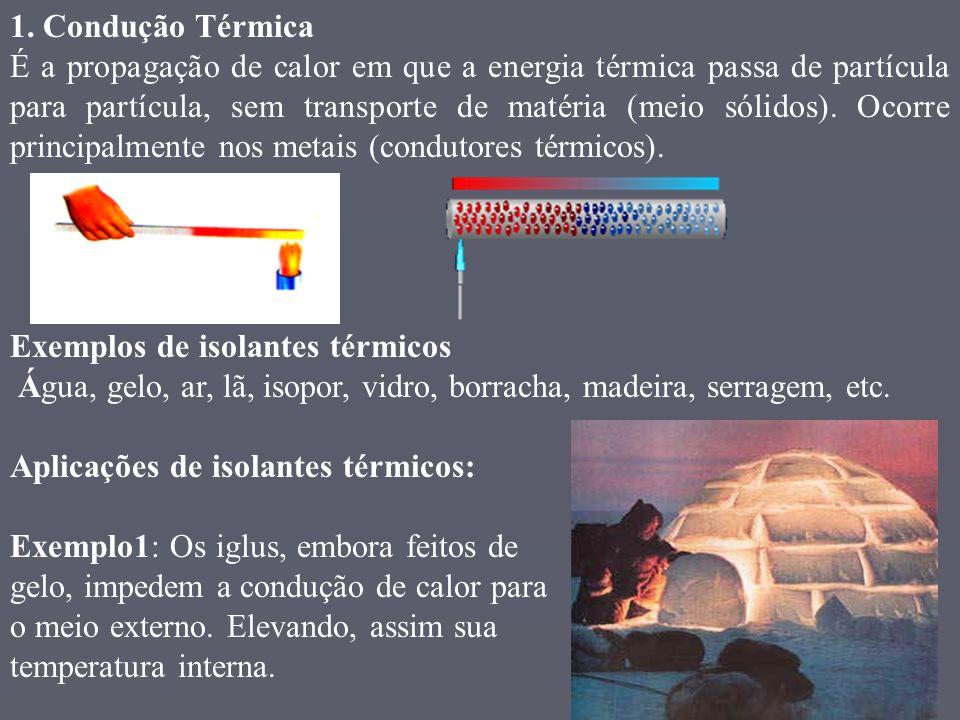 1. Condução Térmica É a propagação de calor em que a energia térmica passa de partícula para partícula, sem transporte de matéria (meio sólidos). Ocor