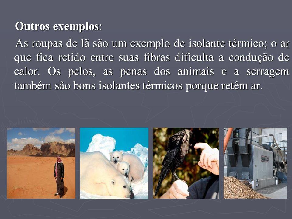 Outros exemplos: Outros exemplos: As roupas de lã são um exemplo de isolante térmico; o ar que fica retido entre suas fibras dificulta a condução de c