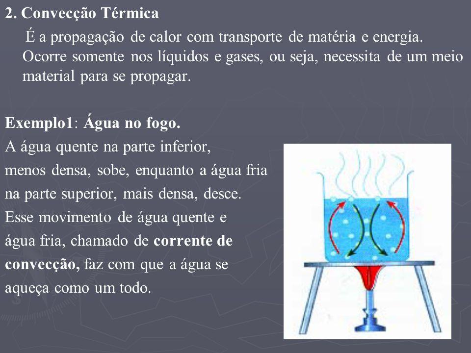 2. Convecção Térmica É a propagação de calor com transporte de matéria e energia. Ocorre somente nos líquidos e gases, ou seja, necessita de um meio m