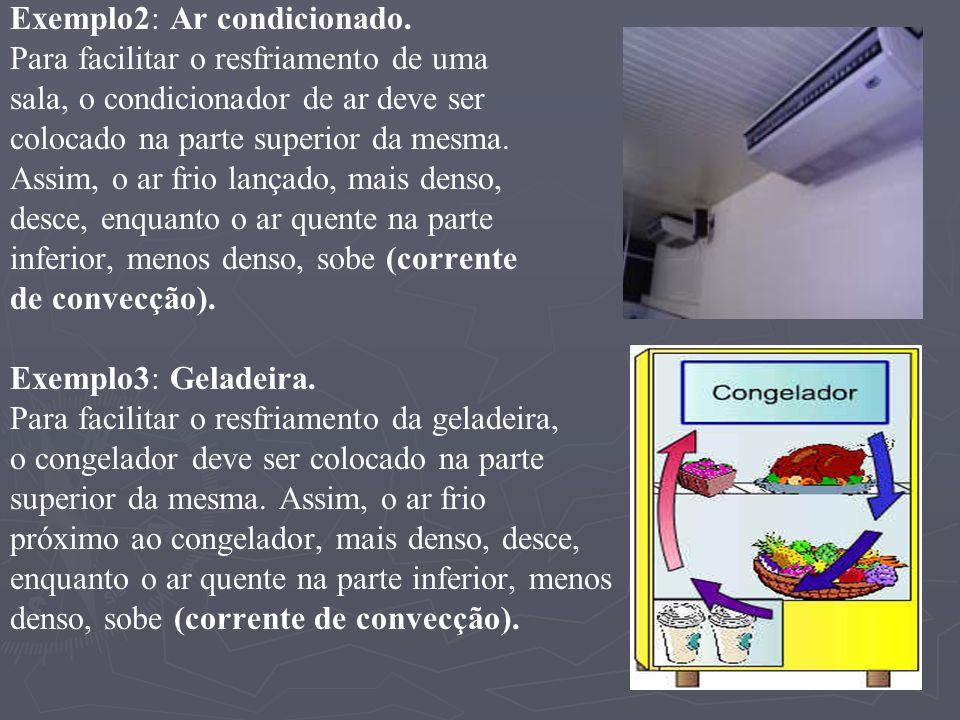 Exemplo2: Ar condicionado. Para facilitar o resfriamento de uma sala, o condicionador de ar deve ser colocado na parte superior da mesma. Assim, o ar