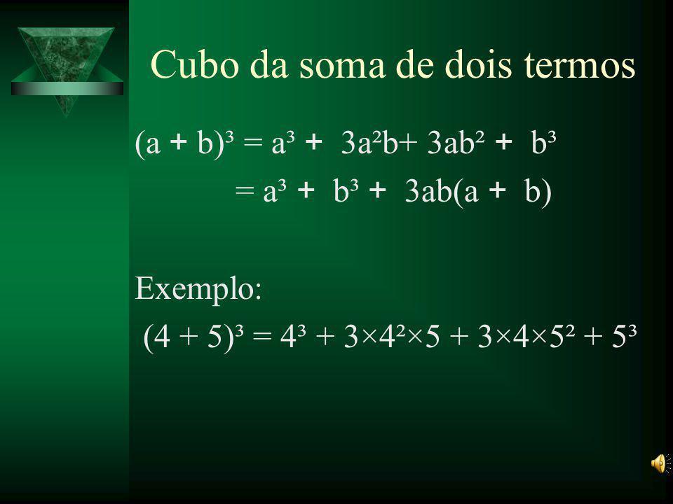 Decorrências (a + b – c)² = = a² + b³ + c² + 2(ab – bc –ac) (a – b – c)² = = a² + b³ + c² + 2(-ab + bc –ac)