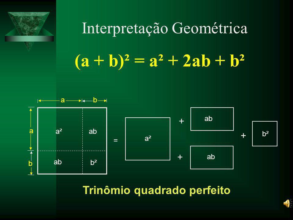 Soma / diferença de dois cubos na forma fatorada a ³ + b ³ = (a + b)(a² - ab + b²) a ³ - b ³ = (a - b)(a² + ab + b²) Exemplo: 5³ + 7³=(5 + 7) (5² - 5×7 + 7²)