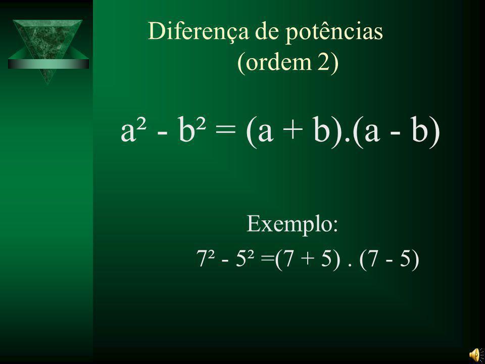 Quadrado da diferença de dois termos (a-b)² = a² + b² - 2ab Exemplo: (7 - 5)²=7² + 5² - 2×7×5
