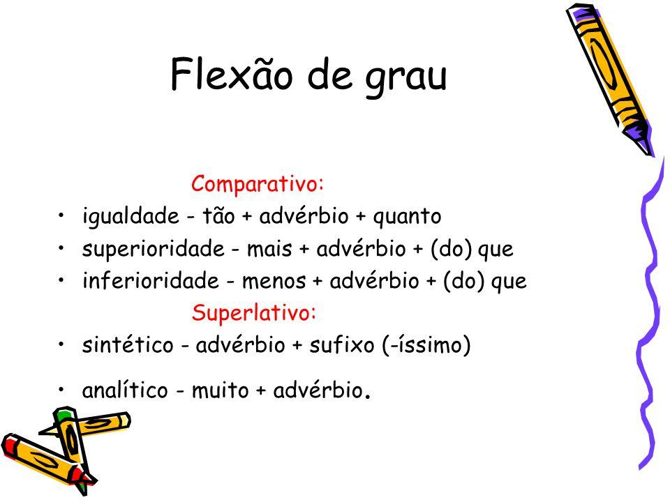 Flexão de grau Comparativo: igualdade - tão + advérbio + quanto superioridade - mais + advérbio + (do) que inferioridade - menos + advérbio + (do) que Superlativo: sintético - advérbio + sufixo (-íssimo) analítico - muito + advérbio.