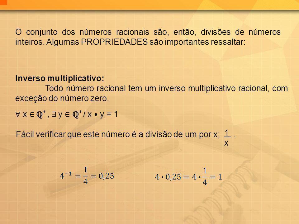O conjunto dos números racionais são, então, divisões de números inteiros. Algumas PROPRIEDADES são importantes ressaltar: Inverso multiplicativo: Tod