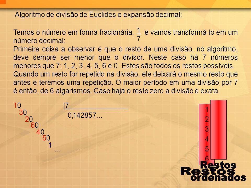 0 5 3 0 0 0 1 5 0 87 4 42 2 6 0, Algoritmo de divisão de Euclides e expansão decimal: 1717 Temos o número em forma fracionária, e vamos transformá-lo