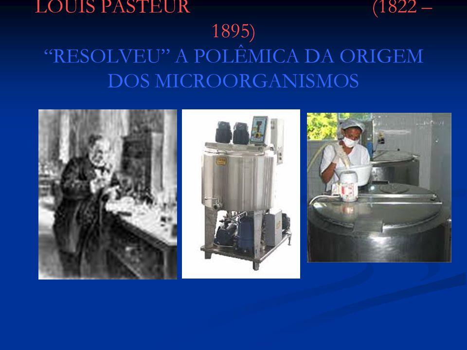Experimento de Pasteur Os frascos com pescoço de cisne: novo experimento Os frascos com pescoço de cisne: novo experimento Pasteur amoleceu os gargalos no fogo, esticando-os e curvando- os em forma de pescoço de cisne; em seguida ferveu os caldos até que saísse vapor pela extremidade dos gargalos Pasteur amoleceu os gargalos no fogo, esticando-os e curvando- os em forma de pescoço de cisne; em seguida ferveu os caldos até que saísse vapor pela extremidade dos gargalos À medida que esfriava, o ar penetrava pelo gargalo, mas as partículas do ar ficavam retidas nas paredes do gargalo em forma de pescoço; Nenhum frasco se contaminou À medida que esfriava, o ar penetrava pelo gargalo, mas as partículas do ar ficavam retidas nas paredes do gargalo em forma de pescoço; Nenhum frasco se contaminou Derrubada definitiva da hipótese da geração espontânea Derrubada definitiva da hipótese da geração espontânea