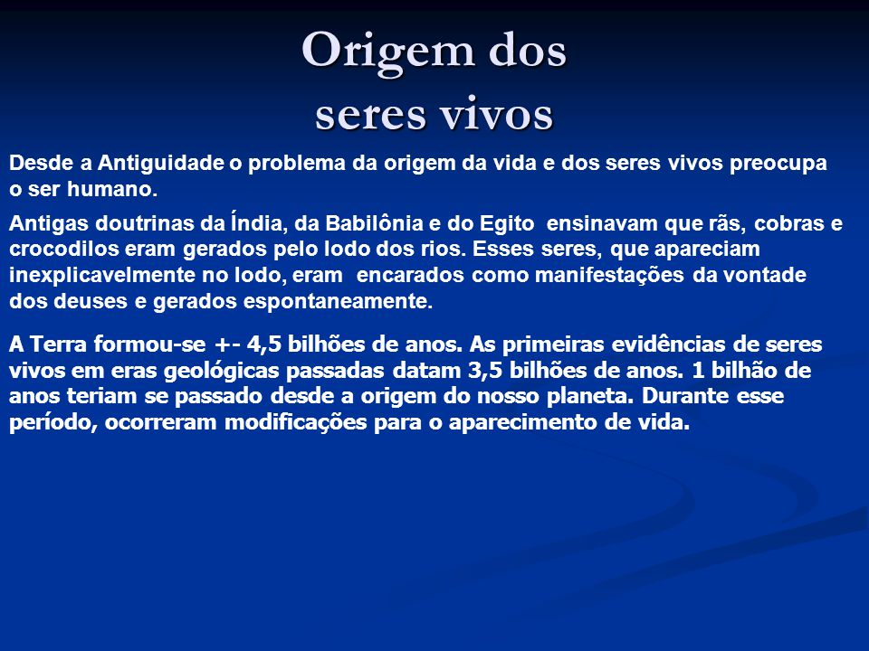 Origem da vida Prof. Regis Romero