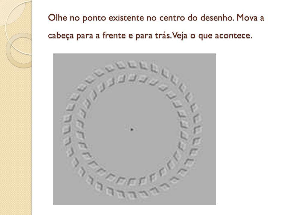 Olhe no ponto existente no centro do desenho. Mova a cabeça para a frente e para trás. Veja o que acontece.