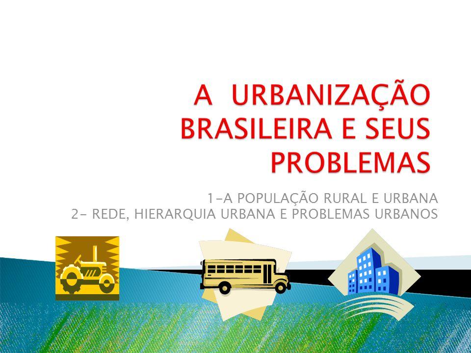1-A POPULAÇÃO RURAL E URBANA 2- REDE, HIERARQUIA URBANA E PROBLEMAS URBANOS
