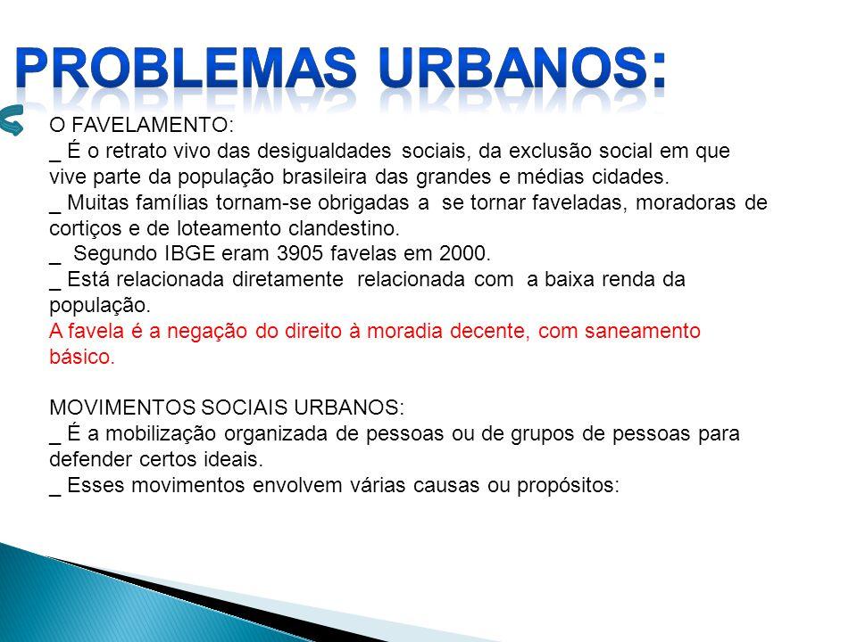 O FAVELAMENTO: _ É o retrato vivo das desigualdades sociais, da exclusão social em que vive parte da população brasileira das grandes e médias cidades