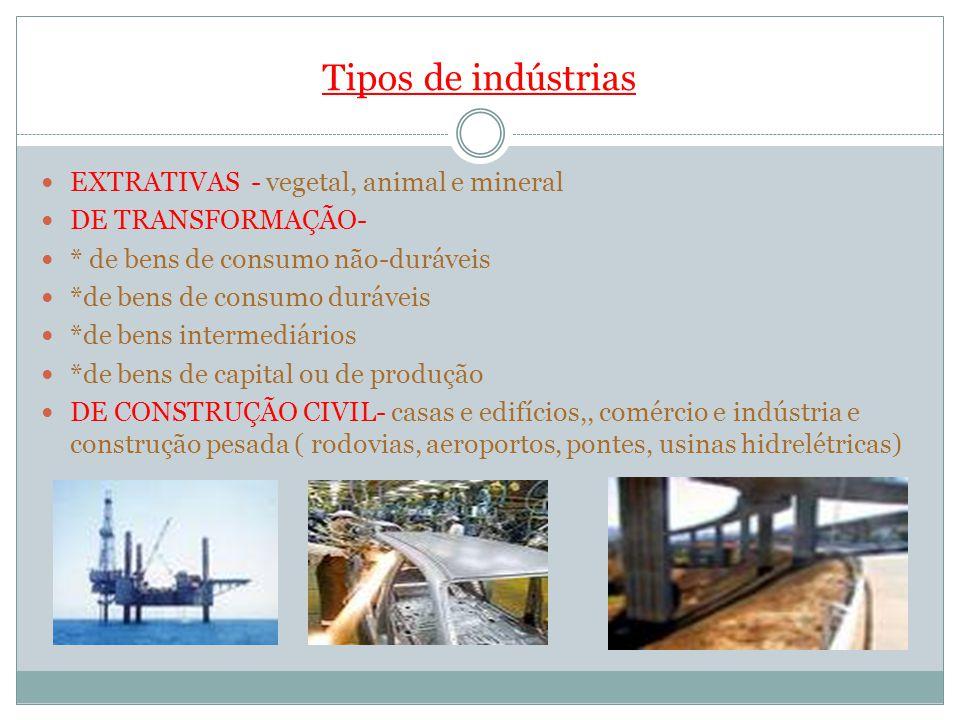 Tipos de indústrias EXTRATIVAS - vegetal, animal e mineral DE TRANSFORMAÇÃO- * de bens de consumo não-duráveis *de bens de consumo duráveis *de bens i