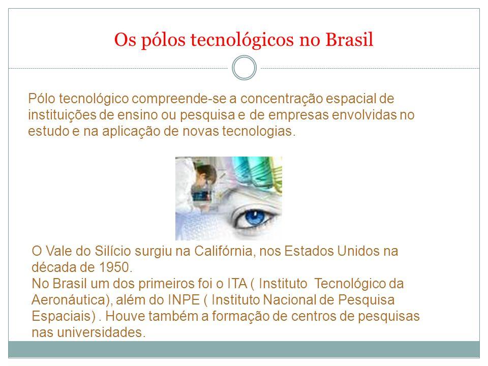 Os pólos tecnológicos no Brasil Pólo tecnológico compreende-se a concentração espacial de instituições de ensino ou pesquisa e de empresas envolvidas