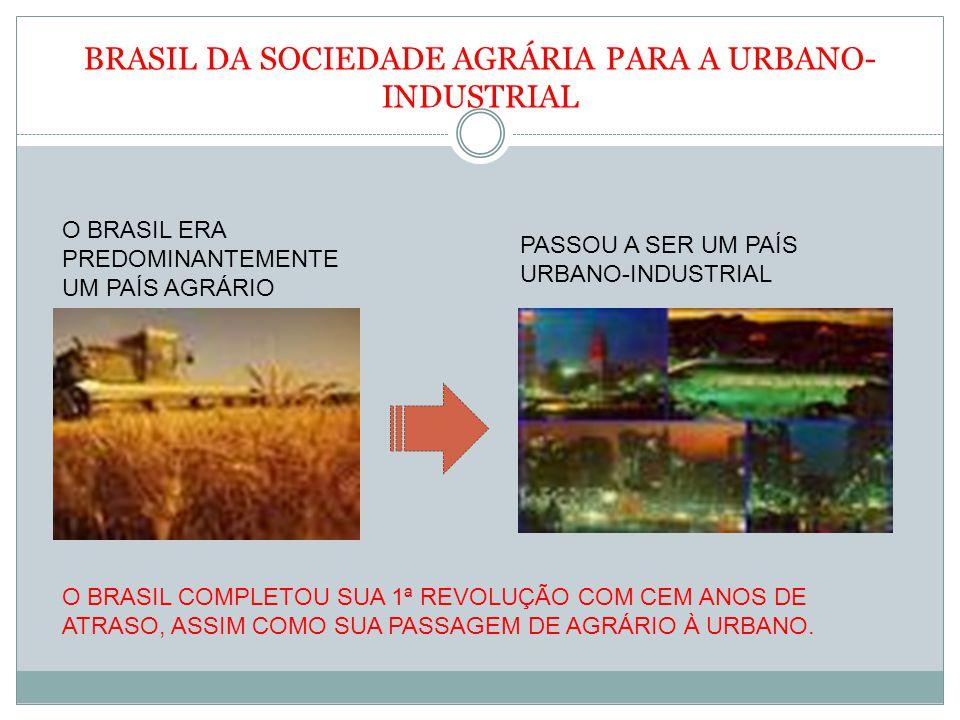 BRASIL DA SOCIEDADE AGRÁRIA PARA A URBANO- INDUSTRIAL O BRASIL ERA PREDOMINANTEMENTE UM PAÍS AGRÁRIO PASSOU A SER UM PAÍS URBANO-INDUSTRIAL O BRASIL C