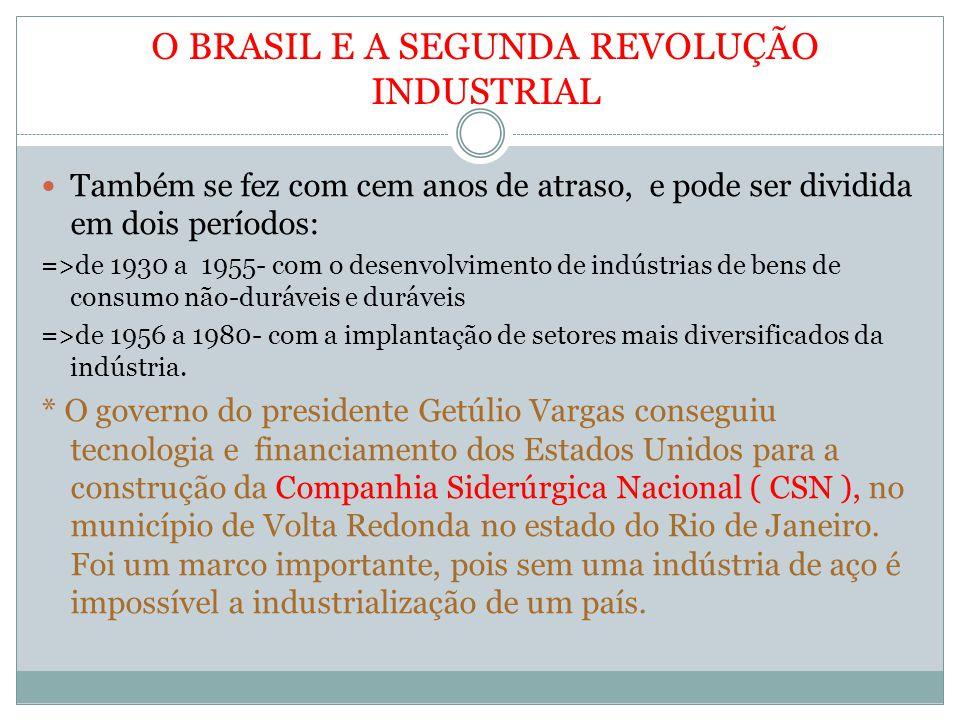 O BRASIL E A SEGUNDA REVOLUÇÃO INDUSTRIAL Também se fez com cem anos de atraso, e pode ser dividida em dois períodos: =>de 1930 a 1955- com o desenvolvimento de indústrias de bens de consumo não-duráveis e duráveis =>de 1956 a 1980- com a implantação de setores mais diversificados da indústria.
