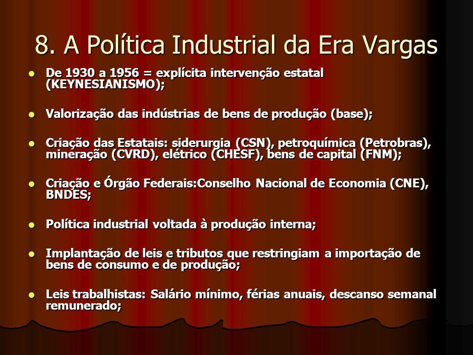8. A Política Industrial da Era Vargas De 1930 a 1956 = explícita intervenção estatal (KEYNESIANISMO); De 1930 a 1956 = explícita intervenção estatal