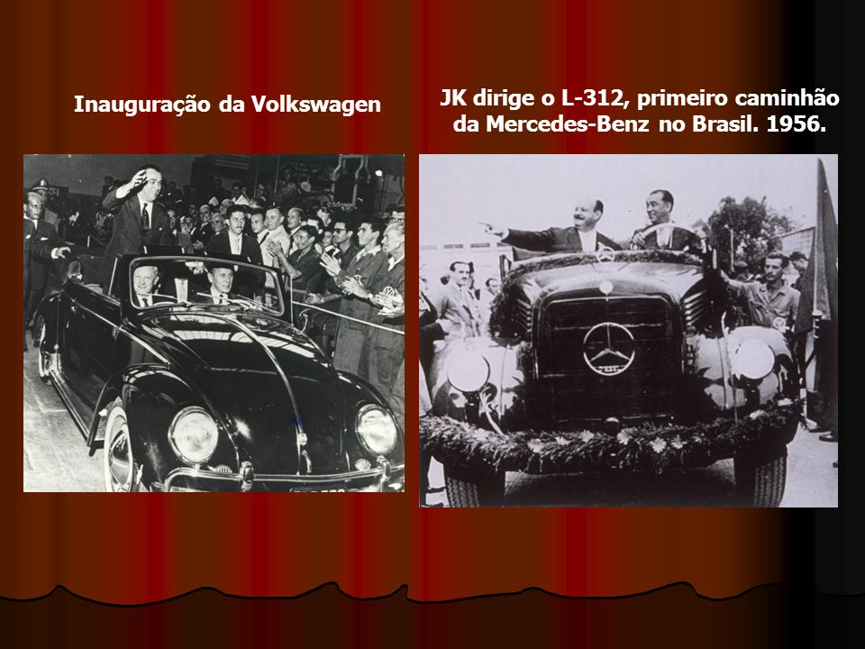 Inauguração da Volkswagen JK dirige o L-312, primeiro caminhão da Mercedes-Benz no Brasil. 1956.