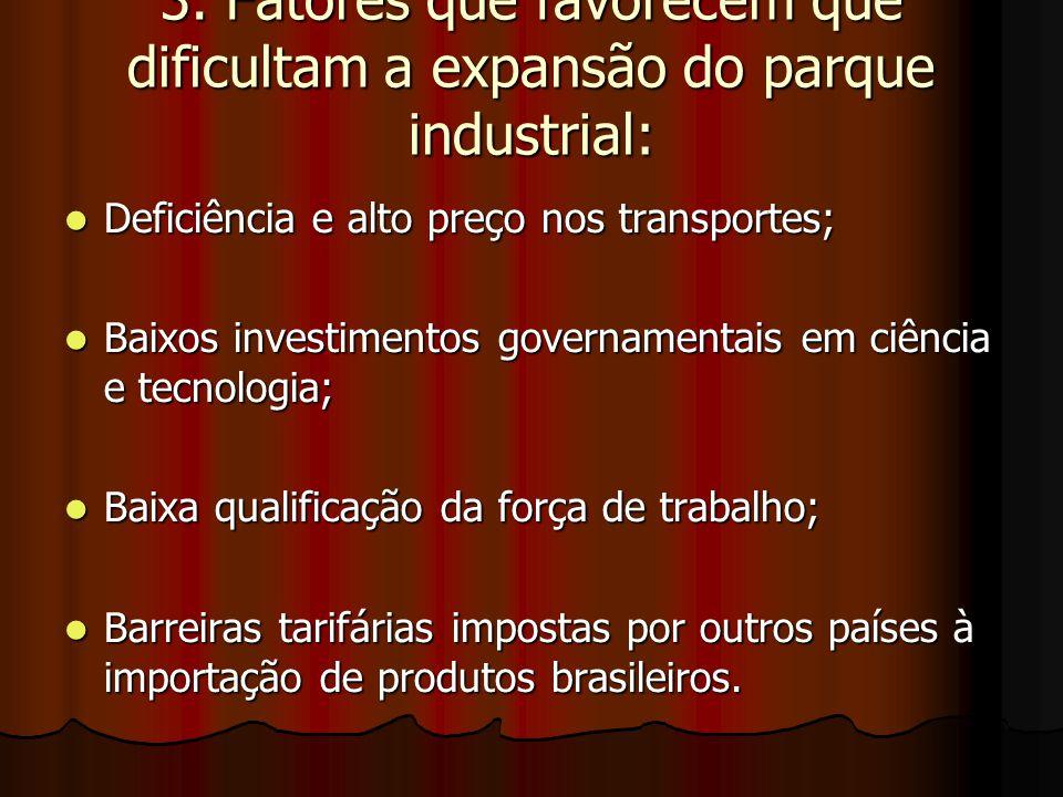 3. Fatores que favorecem que dificultam a expansão do parque industrial: Deficiência e alto preço nos transportes; Deficiência e alto preço nos transp