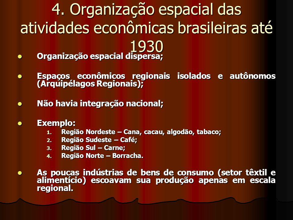 4. Organização espacial das atividades econômicas brasileiras até 1930 Organização espacial dispersa; Organização espacial dispersa; Espaços econômico