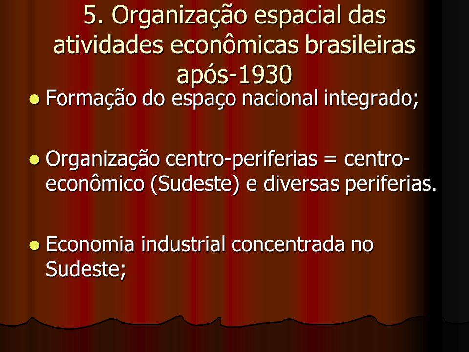 5. Organização espacial das atividades econômicas brasileiras após-1930 Formação do espaço nacional integrado; Formação do espaço nacional integrado;