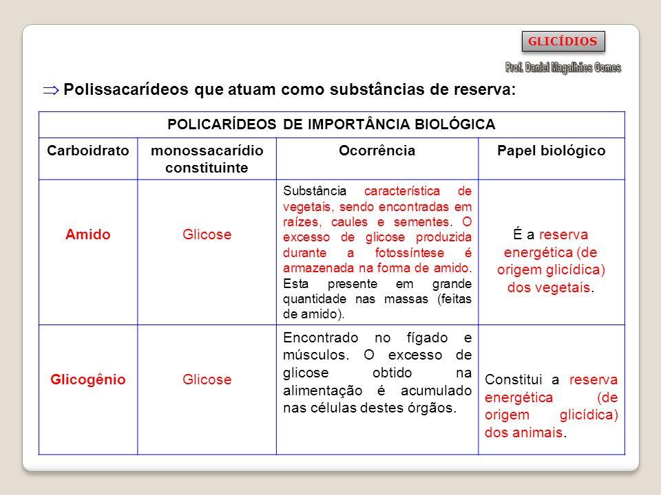 Polissacarídeos que atuam como substâncias de reserva: POLICARÍDEOS DE IMPORTÂNCIA BIOLÓGICA Carboidratomonossacarídio constituinte OcorrênciaPapel bi