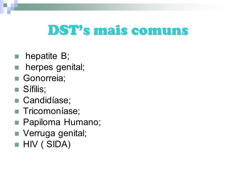 DSTs mais comuns hepatite B; herpes genital; Gonorreia; Sífilis; Candidíase; Tricomoníase; Papiloma Humano; Verruga genital; HIV ( SIDA)