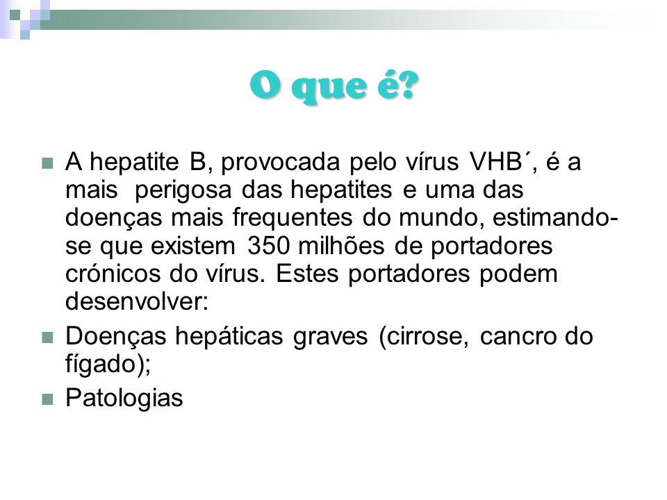 O que é? A hepatite B, provocada pelo vírus VHB´, é a mais perigosa das hepatites e uma das doenças mais frequentes do mundo, estimando- se que existe