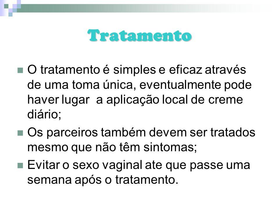Tratamento O tratamento é simples e eficaz através de uma toma única, eventualmente pode haver lugar a aplicação local de creme diário; Os parceiros t