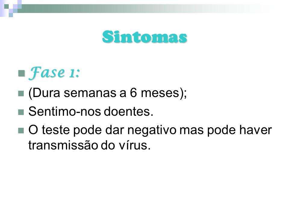 Sintomas Fase 1: Fase 1: (Dura semanas a 6 meses); Sentimo-nos doentes. O teste pode dar negativo mas pode haver transmissão do vírus.