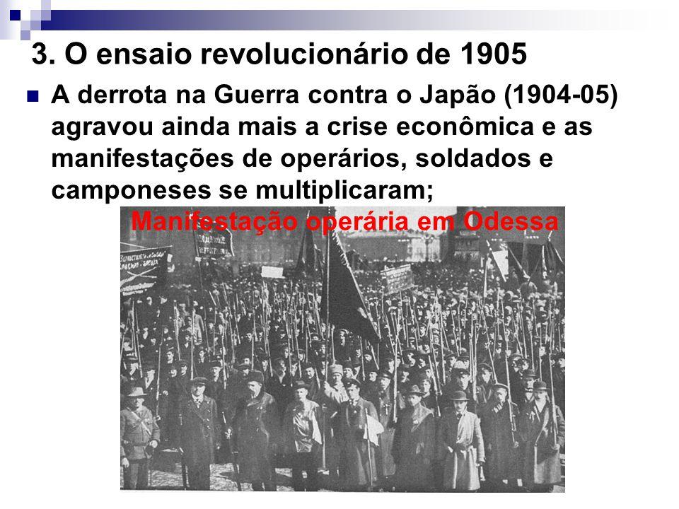 3. O ensaio revolucionário de 1905 A derrota na Guerra contra o Japão (1904-05) agravou ainda mais a crise econômica e as manifestações de operários,