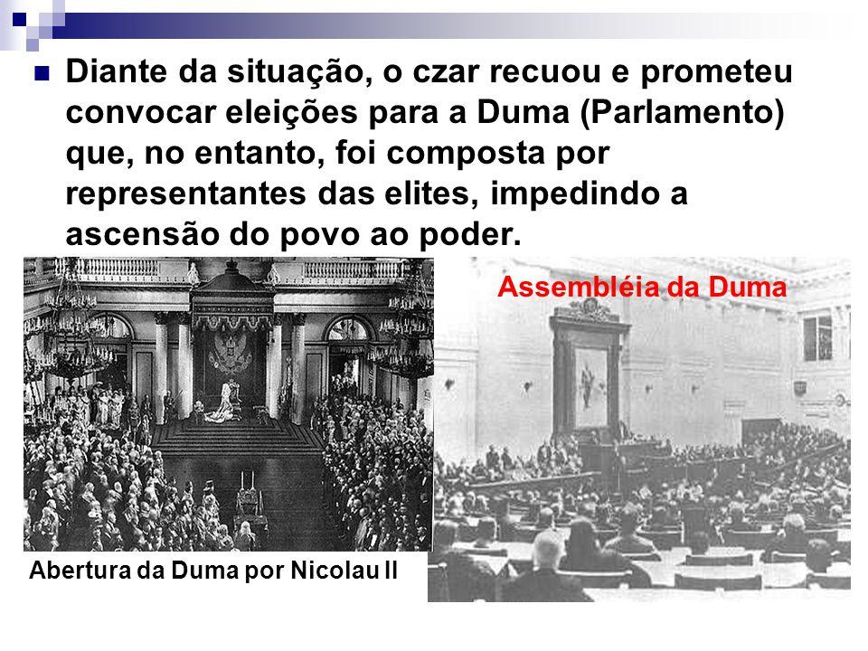 Diante da situação, o czar recuou e prometeu convocar eleições para a Duma (Parlamento) que, no entanto, foi composta por representantes das elites, i