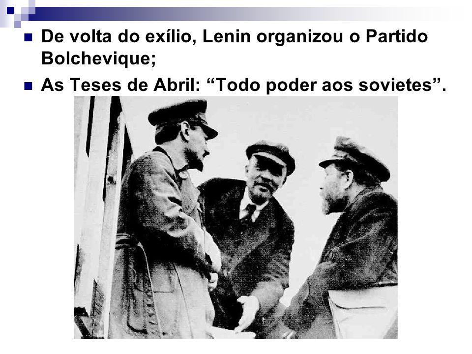 De volta do exílio, Lenin organizou o Partido Bolchevique; As Teses de Abril: Todo poder aos sovietes.