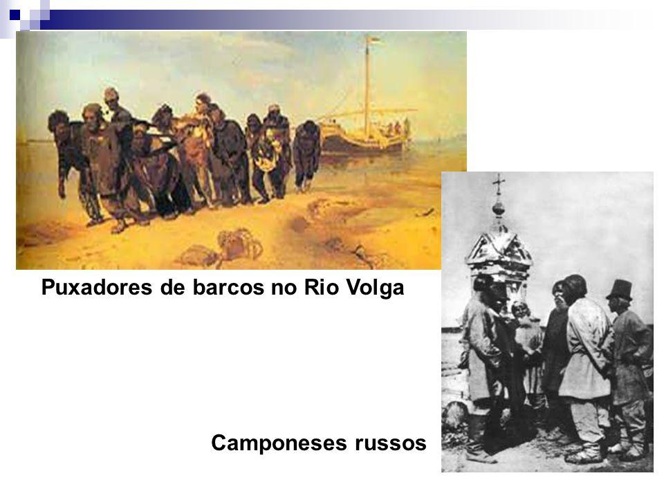Puxadores de barcos no Rio Volga Camponeses russos